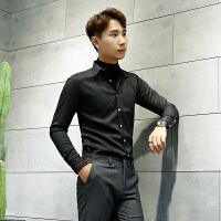 条纹长袖衬衫男士免烫拼色帅气休闲时尚衬衣男