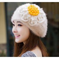新款女韩版冬天女士帽子秋冬贝雷帽兔毛帽子 可爱时尚女帽 冬季帽子