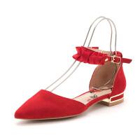 迪芙斯(DFUSE)女鞋 2019年春季专柜同款绒面羊皮革尖头金属跟一字扣带单鞋DF91114004