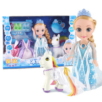 挺逗 冰雪奇缘 冰雪公主会说话的Q萌智能娃娃对话洋娃娃儿童玩具白马套装 66044