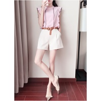 套装女夏2018新款小心机雪纺套装两件套小香风洋气短裤套装时髦 粉红色