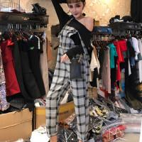 2018春季新款韩版时尚气质圆领长袖上衣打底衫+背带长裤套装女潮