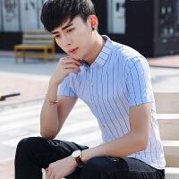 短袖衬衫男修身韩版渐变条纹印花百搭休闲潮流帅气夏季衬衣男
