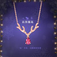 周大福 珠宝圣诞麋鹿碧玺18K金钻石项链/吊坠V107514>>定价