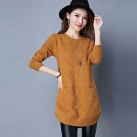 套头毛衣女秋冬季新款韩版宽松女士冬天保暖长袖中长款针织打底衫