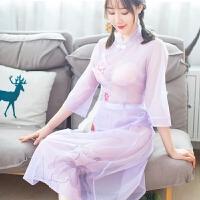 性感睡衣女秋睡裙两件套开档薄纱透明内衣旗袍式制服诱惑仙 均码(90-125斤)