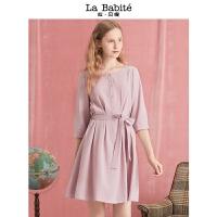 灰粉色中长款2018年新款拉贝缇九分袖纯色圆领简约精致复古连衣裙