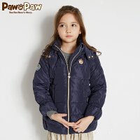 【3件3折 到手价:329】Pawinpaw卡通小熊童装冬女童白鸭绒收腰连帽羽绒服外套