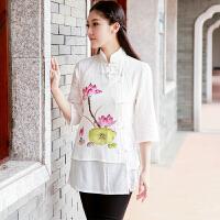 夏新款女民族风中式修身手绘唐装立领七分袖棉麻盘扣上衣