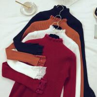 格格家 秋冬新款韩版气质蕾丝拼接小高领针织衫打底百搭毛衣E91