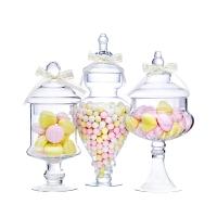 带盖玻璃糖果罐储物罐婚庆甜品台软装饰糖缸糖罐创意摆件