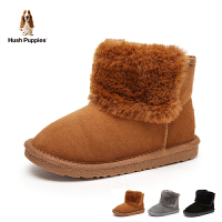 暇步士Hush Puppies童鞋18冬季新款儿童绒面耐磨靴子时尚加绒保暖雪地靴防滑舒适短靴 (5-10岁可选) DP9437