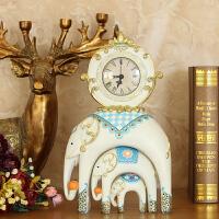 大象立式时钟座钟台钟表工艺摆件欧式台钟创意个性客厅家居装饰品