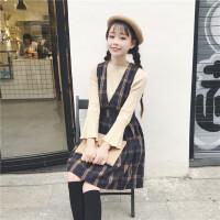秋冬女装韩版甜美少女英伦格子学院风复古甜美V领连衣裙呢子套装