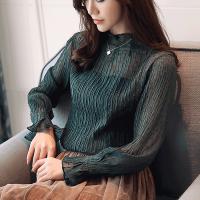 2018新款蕾丝洋气小衫春秋女装上衣服超仙韩版透视性感百搭打底衫
