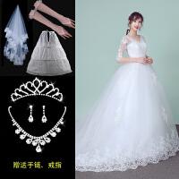 韩式2018新款时尚齐地蕾丝婚纱礼服新娘结婚一字肩中袖大码拖尾女