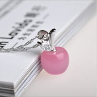 韩版粉晶白猫眼石小苹果吊坠银项链男女士款情侣式水晶
