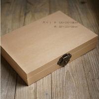 DIY相册收藏盒子复古手工牛皮纸礼品盒 送复古锁
