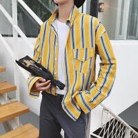 条纹衬衫男长袖修身青少年韩版秋装男上衣潮流学生衬衣男宽松百搭