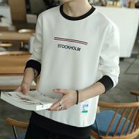JSW 男士圆领长袖T恤秋冬简约印花卫衣休闲运动男装