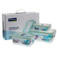 Glasslock 三光云彩钢化玻璃保鲜盒微波炉饭盒保鲜盒三件套装饭盒GL05-3ABC