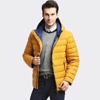 雅鹿青年时尚保暖羽绒服男短款 连帽修身冬装纯色外套男YP48020