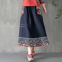 中国风女装拼接复古半身裙长裙民族风秋季新款棉麻花布拼接半身裙