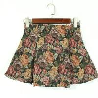 P04012女装精品新款日系隐形拉链后松紧高腰显瘦花色短裙A字裙