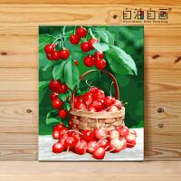 数字油画diy 客厅风景花卉手工填色油彩装饰画 花期常驻 精装40x50绷好实木内框整套 亚麻画布+高亮环保