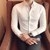 白衬衫男长袖修身型韩版衬衣百搭潮流秋季新款帅气韩国ulzzang