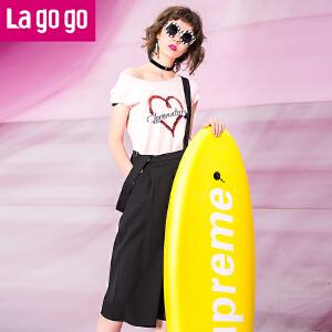 【商场同款】Lagogo拉谷谷2017年夏季新款时尚百搭口袋阔腿背带裤GAKK834C81