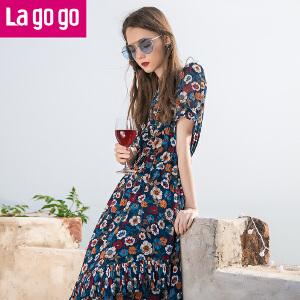 Lagogo2017夏季新款短袖大碎花雪纺连衣裙女长款收腰裙子显瘦长裙
