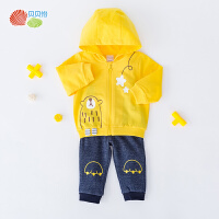 贝贝怡男童洋气套装秋装新款宝宝纯棉连帽上衣抓绒长裤2件套193T490