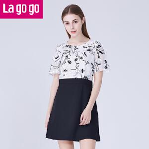 Lagogo/拉谷谷夏显瘦短袖短裙A字裙潮OL连衣裙假两件套女拼接韩版