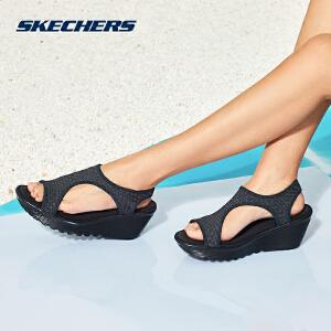 Skechers斯凯奇女鞋新款时尚坡跟凉鞋 轻质休闲鞋 66666100