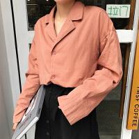 简约基础款纯色西装领长袖衬衫外套女装韩版春装学生宽松衬衣外套