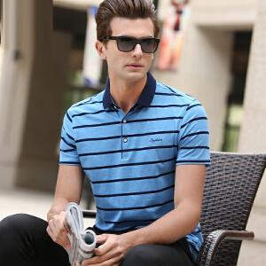 2019夏季棉质男士翻领短袖t恤修身半袖衫条纹青年男装polo保罗