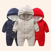 百天宝宝衣服女冬季一岁婴儿冬装连体衣6-12个月宝宝加绒加厚毛衣