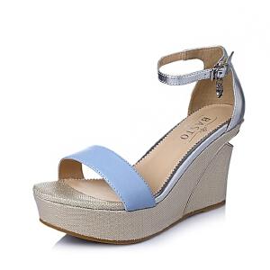 【鞋靴超级品类日】BASTO/百思图夏季专柜同款 绵羊皮革女皮凉鞋TG508BL6