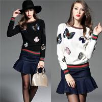 欧洲站秋季外套针织衫女套头蝴蝶亮片 衫撞色贴布绒毛衣上