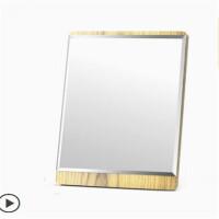 台式高清化妆镜 桌面美容镜子便携时尚随身简约单面大号木梳妆镜礼品 木质化妆镜【中号】