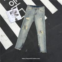 复古欧美高街比伯膝盖破洞长裤修身小脚水洗做旧侧拉链牛仔裤男女