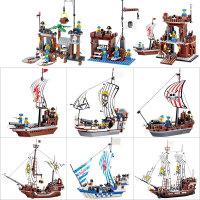 积木 儿童玩具 海盗船模型 早教diy小颗粒拼装