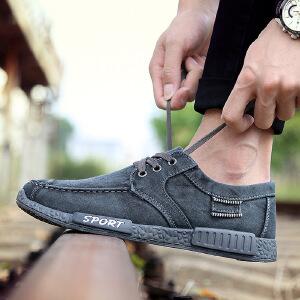 2017春季新款帆布鞋透气休闲男鞋韩版时尚学生鞋水洗牛仔布鞋W202DRJD支持