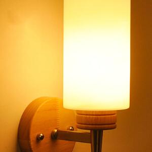 【每满100-50】实木壁灯过道阳台北欧原木风格卧室床头简约 卧室床头灯 玻璃实木壁灯YX-LMD-2120
