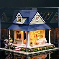 DIY女童娃娃房子过生日礼物 小女孩玩具公主小屋家家木质