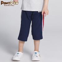 【1件5折 到手价:149】Pawinpaw卡通小熊童装夏款男童休闲七分裤中大童撞色运动裤子