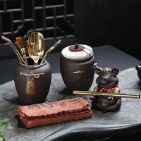 茶艺摆件流水 黑檀实木茶道六君子功夫茶具配件套装零配茶艺组合盘摆件茶夹笔刷