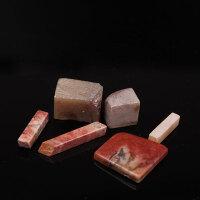 昌化鸡血石章料原石六件 2.4*2.4cm