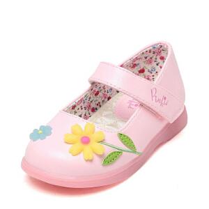 Pinkii/苹绮鞋柜春新款女童单鞋韩版魔术贴公主鞋儿童小皮鞋